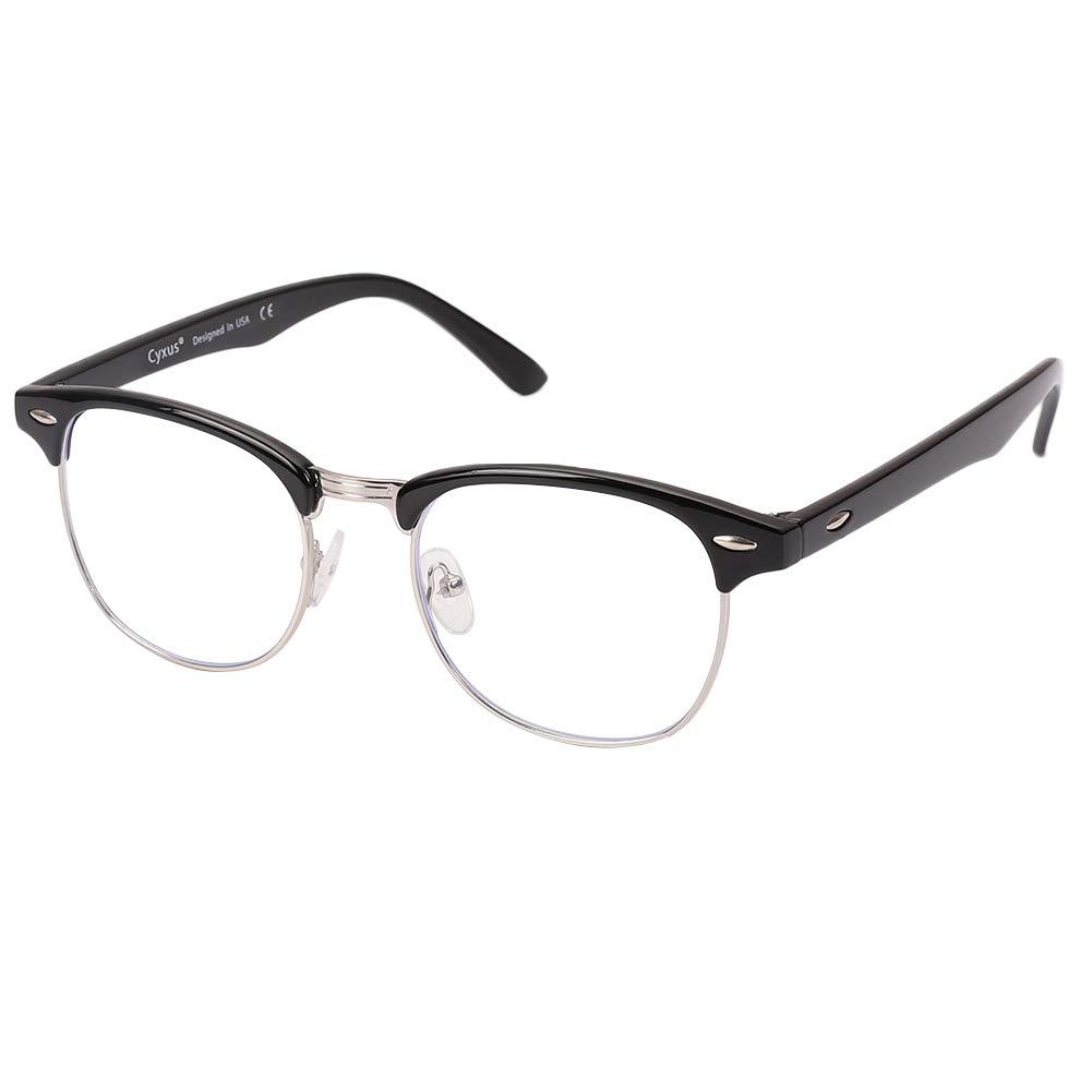 Cyxus(シクサズ)ブルーライトカットメガネ [透明レンズ] 半フレーム pcメガネ uvカット パソコン用メガネ 紫外線防止 視力保護 輻射防止 目の疲れを緩和 肌に優しい 睡眠改善 ファッション 男女兼用(ブラック)