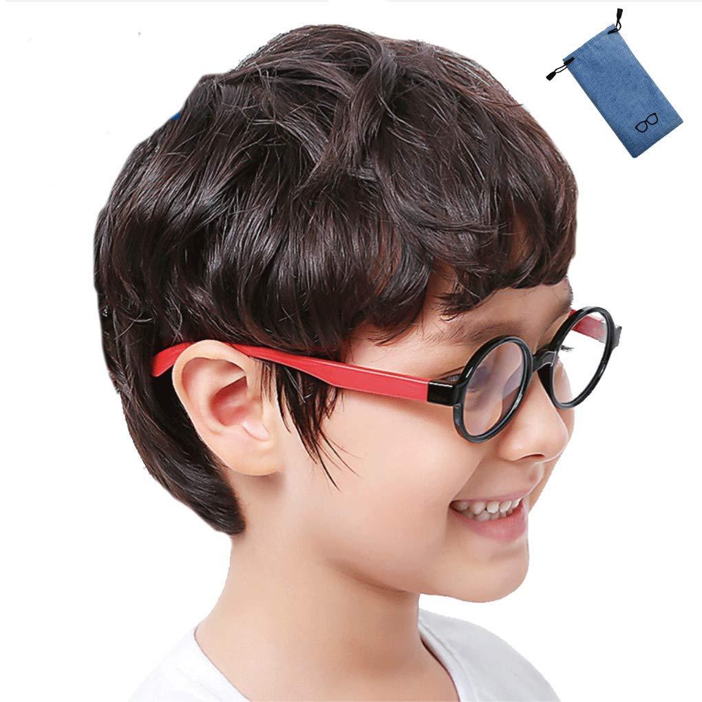 ブルーライト カット メガネ キッズ こども用 パソコン用 子供 専用 子ども 視力 (丸, 黒&赤)