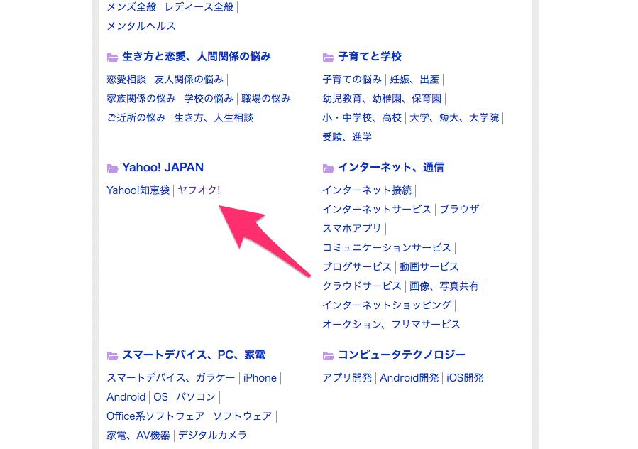 Yahoo!知恵袋のヤフオク!カテゴリ