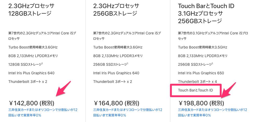MacBook Proのタッチバー付きは高い