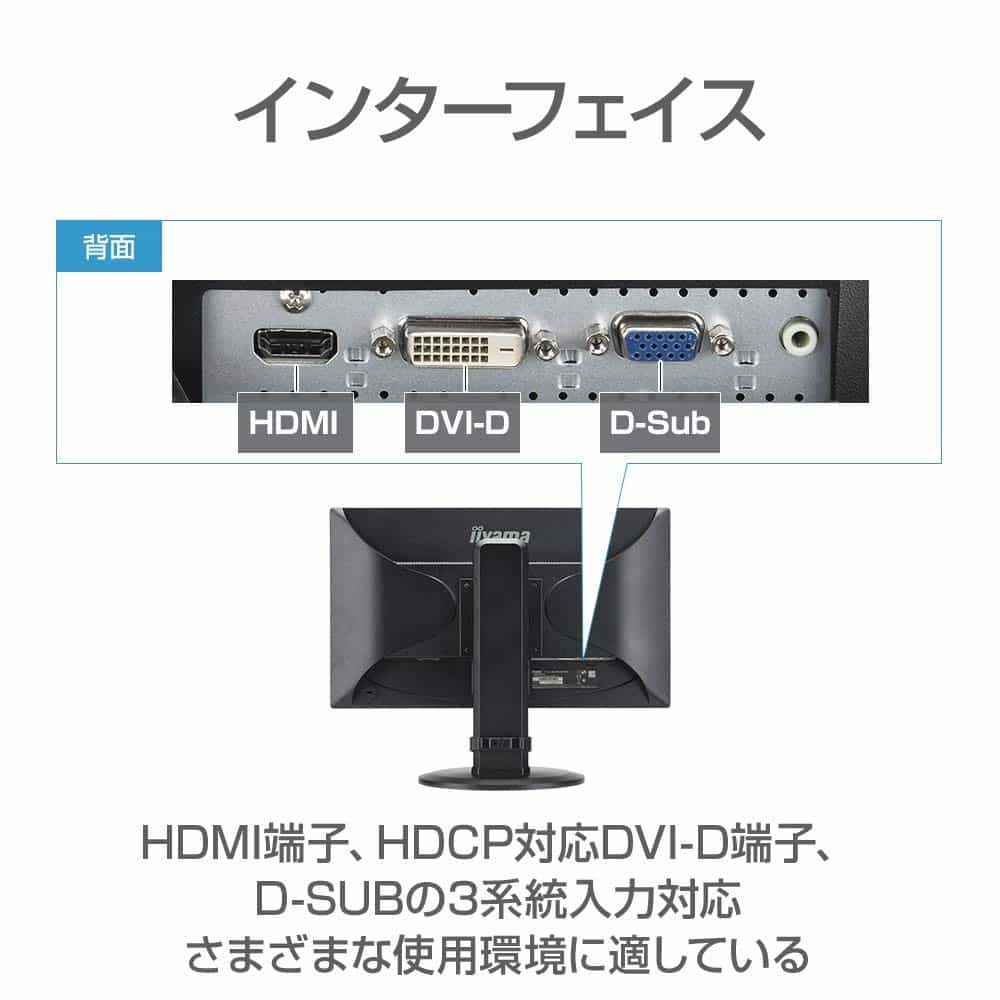 iiyama|21.5インチワイドディスプレイ(昇降・ピボット機能対応)